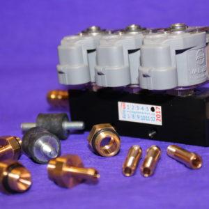 Газові форсунки Valtek 3 цил, 2 Ом зі штуцерами