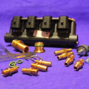 Газові форсунки STAG W-02 4 цил.(в рампі), чорні (60-168 к.с.), з жиклерами D1,5 мм та штуцерами в колектор