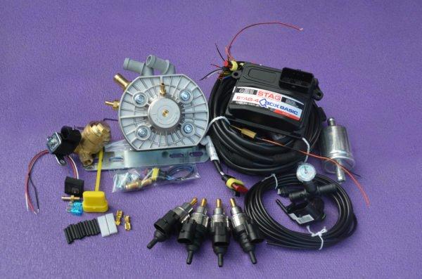 Підкапотна частина газового встановлення на 4 пок., 4 цил. Stag-4 Q-Box Basic+KME Silver+Barracuda