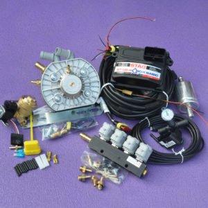 Підкапотна частина газового встановлення на 4 пок., 4 цил. Stag-4 Q-Box Basic+KME Silver+Valtek