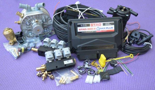 Підкапотна частина газового встановлення на 4 пок., 6 цил. Stag-300 Q-Max Plus+KME Silver+Valtek