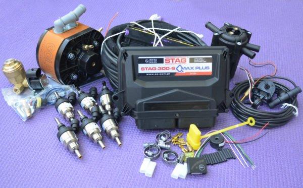Підкапотна частина газового встановлення на 4 пок., 6 цил. Stag-300 Q-Max Plus+KME Gold GT+Hana
