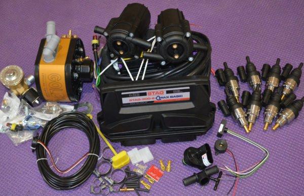 Підкапотна частина газового встановлення на 4 пок., 8 цил. Stag Q-Max Basic+Редуктор KME Gold+Газові форсунки Barracuda