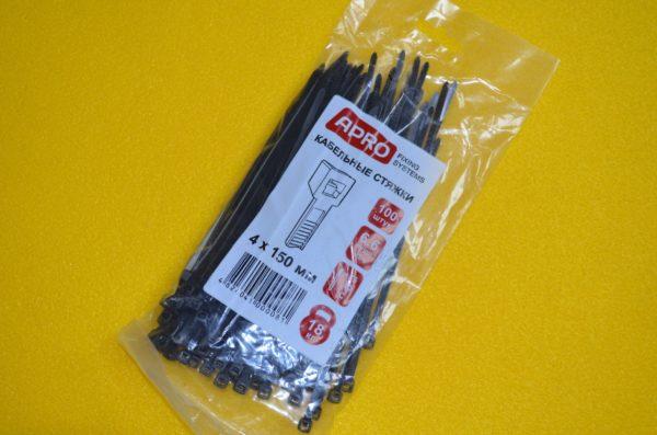 Хомут (стяжка) пластиковий APRO 4*150 мм