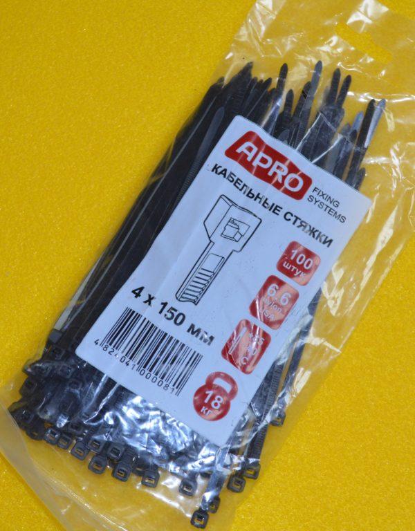 Хомут (стяжка) пластиковий APRO 4*300мм