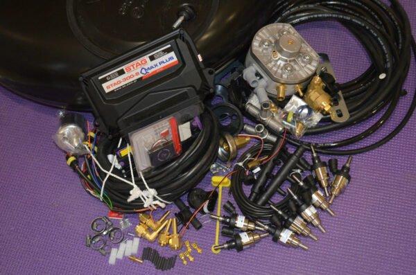 Комплект газового обладнання на 4 пок., 8 цил. (Stag-300-8 QMax Рlus, KME Silver,  Hana Single black)