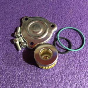 Кришка редуктора+фільтр на металевій основі в редуктор+резинки (зелена і чорна)